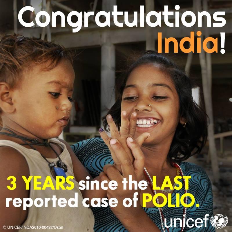 Μετά την εξάλειψη της ευλογιάς το 1980, η πολιομυελίτιδα είναι η δεύτερη νόσος στην Ινδία που έχει απαλειφθεί μέσω της ανοσοποίησης. H UNICEF το επικρότησε, δημοσιεύοντας αυτή τη φωτογραφία.