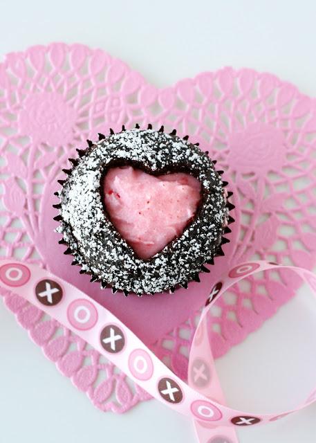 Heart cutout cupcake