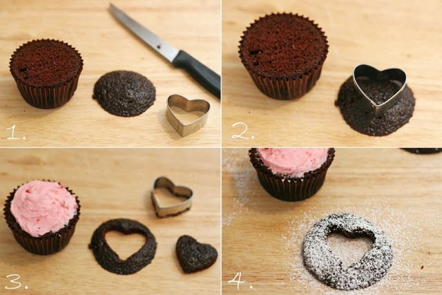 Heart cutout cupcakes how to