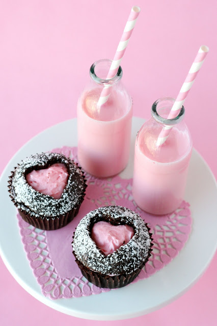 Pink valentines cupcakes and milk