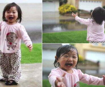 Η στιγμή που ένα κοριτσάκι βλέπει βροχή για πρώτη φορά