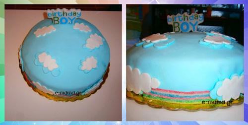 τούρτα με ζαχαρόπαστα ουράνιο τόξο 3