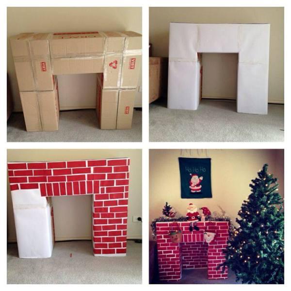 Φτιάξε Χριστουγεννιάτικο τζάκι από χαρτόνι