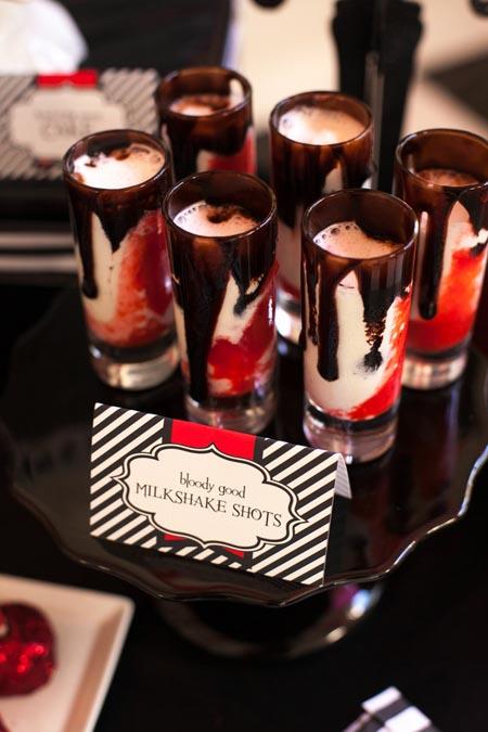 halloween party vampire milkshake shots